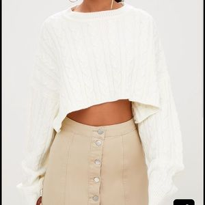 Cropped cream sweater